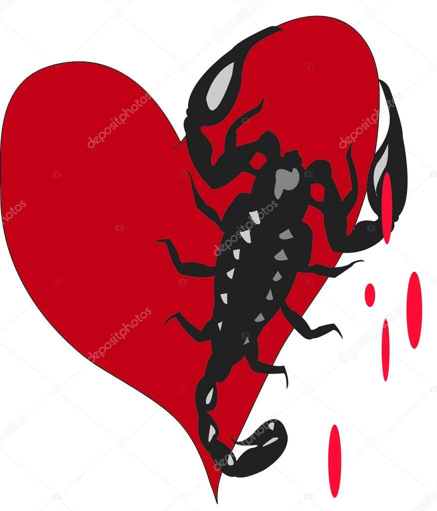 Именины наталье, открытка скорпиончик в сердечке