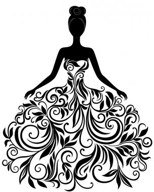 Vector silhouette of young woman in elegant wedding dress stock vector