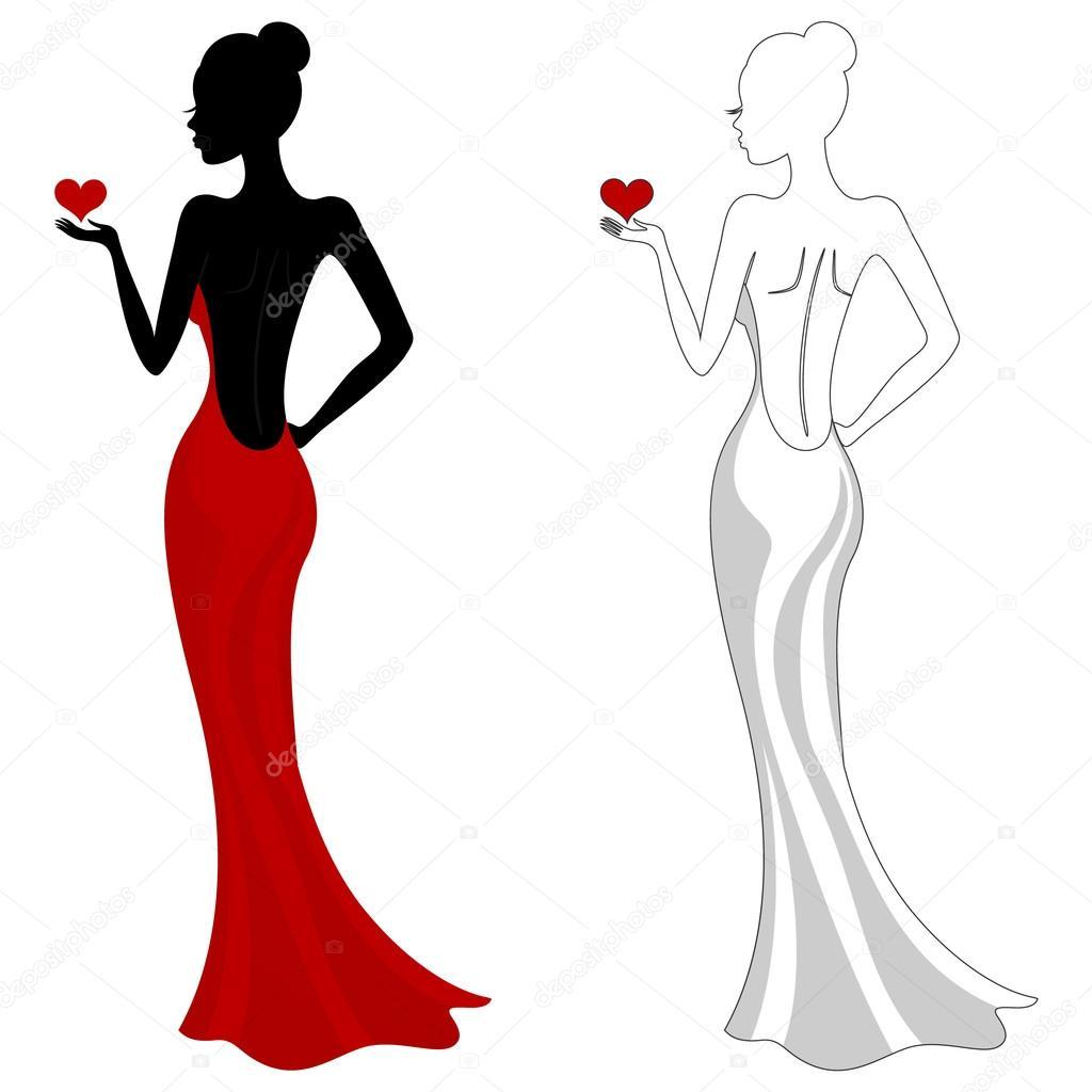 Вектор: девушка в красном. Красивая девочка в красном ... Силуэт Женщины В Платье Вектор