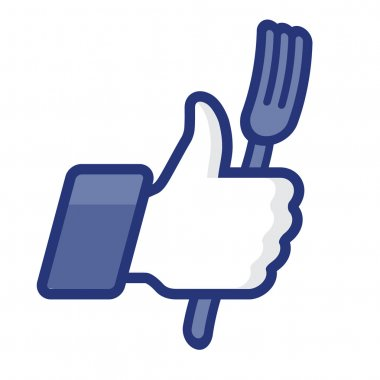 Like/Thumbs Up symbol icon with fork