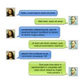 Mozgatható beszélgetés: dobozok a szöveg üzenet