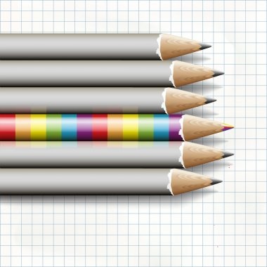 To be different, a rainbow pencil near the simple