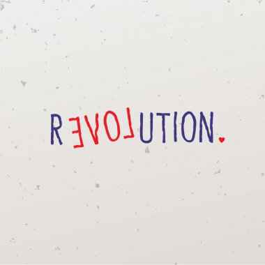 Letters forming a word game with the word revolution
