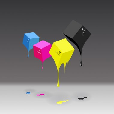 CMYK cubes with blobs on grey background