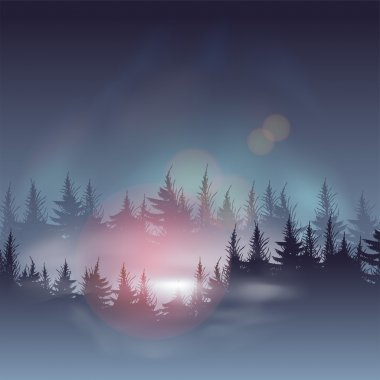 Misty coniferous forests, vector Eps10 illustration. stock vector