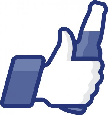 Like Thumbs Up symbol icon with beer bottl