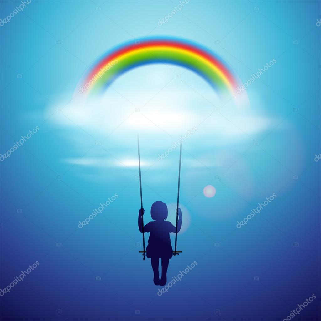 Little girl on a swing under the rainbow in a clouds