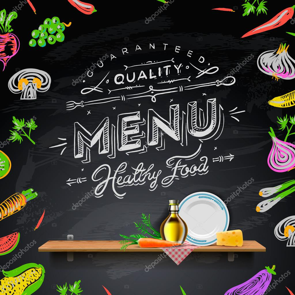 set of design elements for the menu on the chalkboard