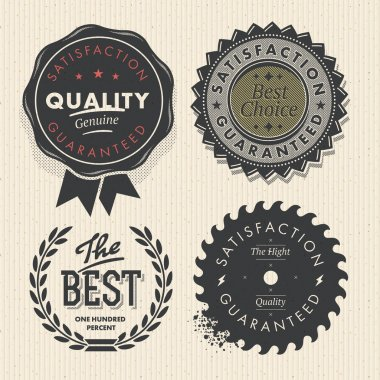 Vintage set premium quality and guarantee labels