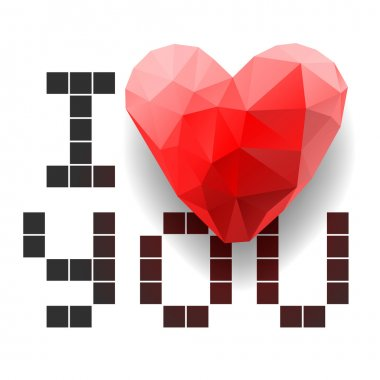Pixel card I Love You with polygonal heart