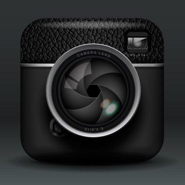 Total black professional photo camera icon