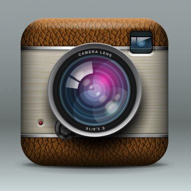 Vintage professional photo camera icon
