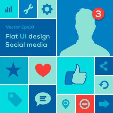 Flat UI design trend social media set icons