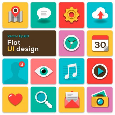 Flat UI design trend set icons