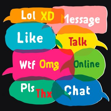 Speech bubbles with most common used acronyms