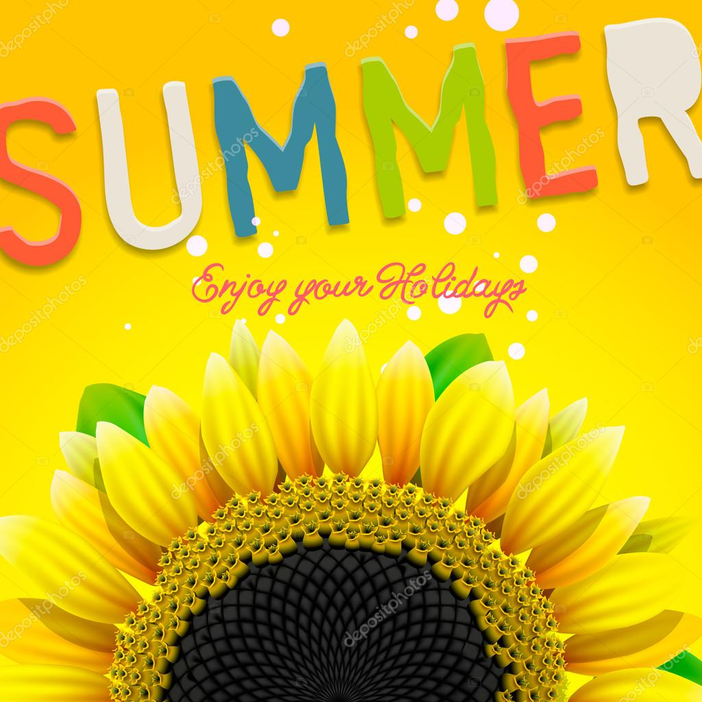 Floral summer background with sunflower
