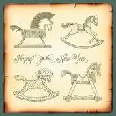 Új év vintage kártya játékok lovak ringó