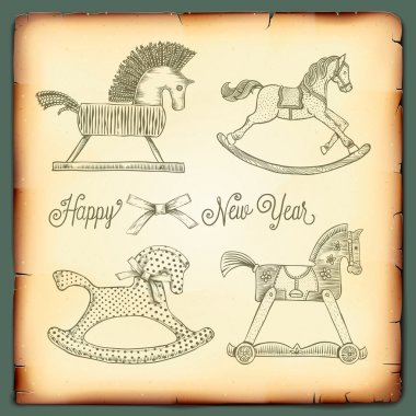 New Year vintage card with rocking toys horses