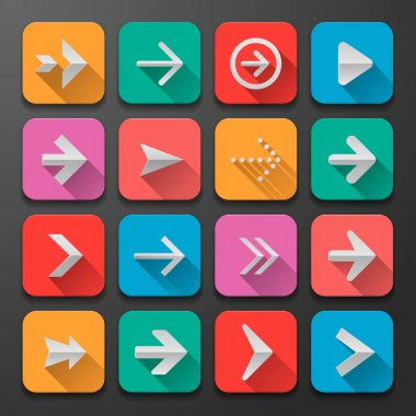 Set arrows icons, flat UI design trend
