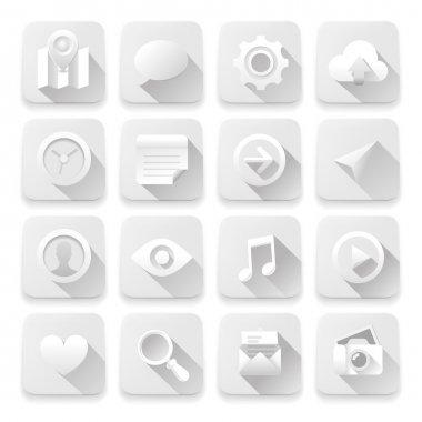 White flat icons, web design elements.
