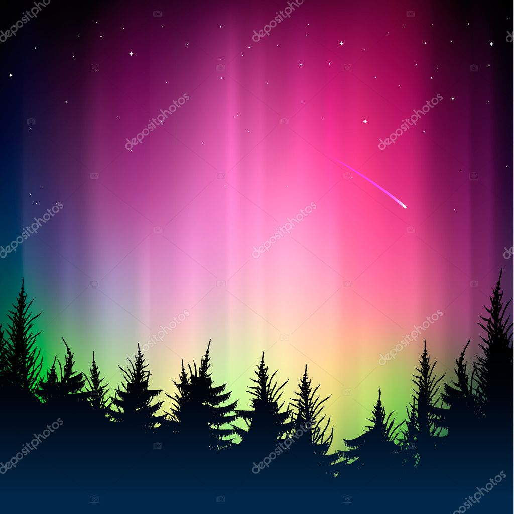 Bokeh colorful background and silhouette of forest