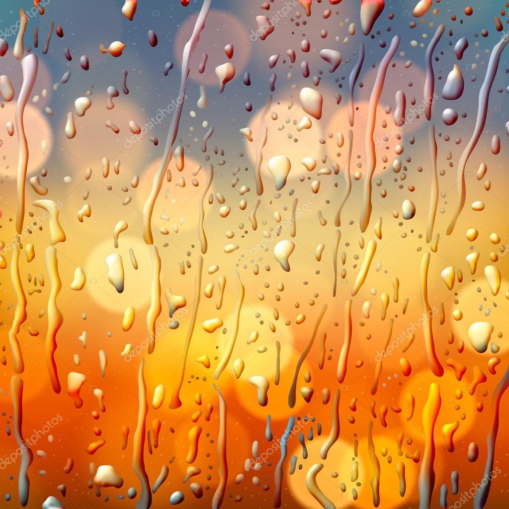 Autumn background, view through wet glass