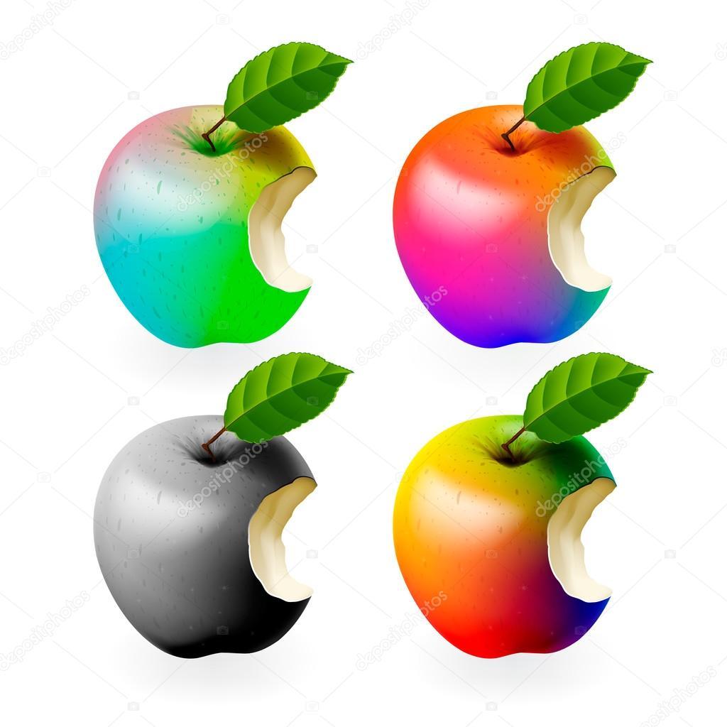 conjunto de manzanas mordidas de colores aislados — Vector de stock ...