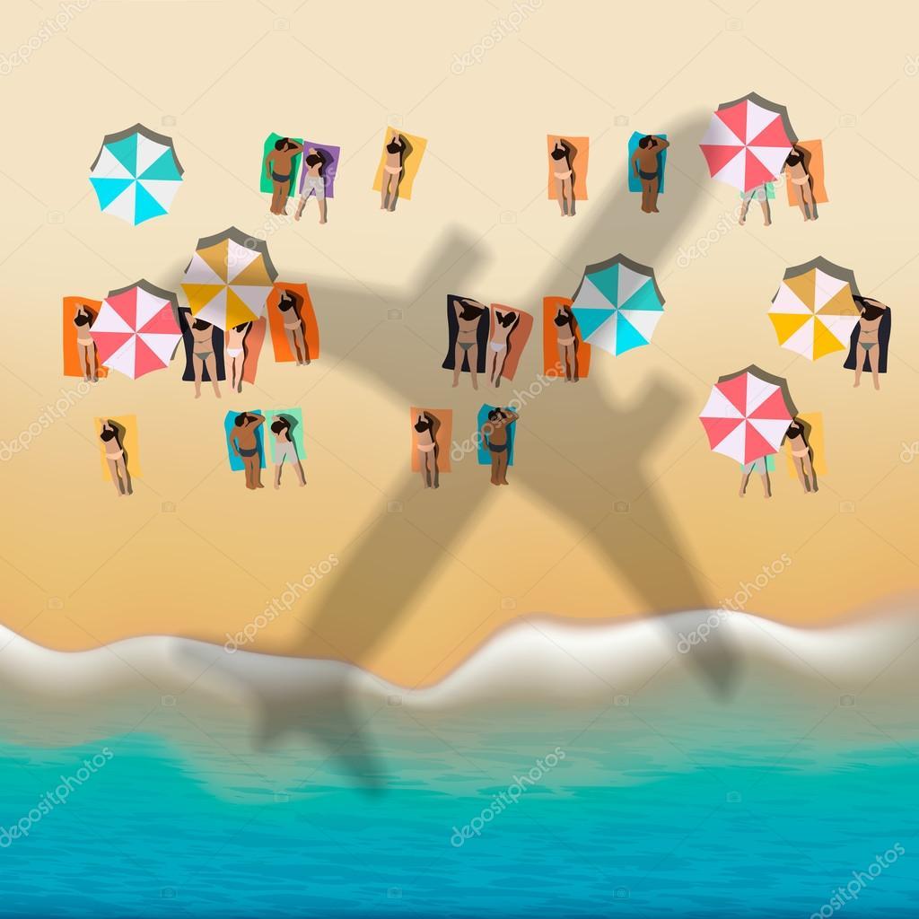 Summer beach with sunbathing people