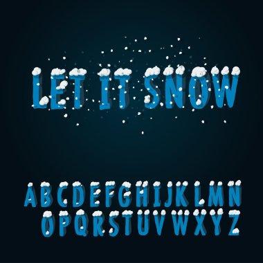 Retro type font with snow