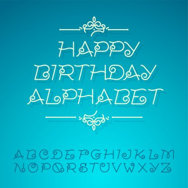 Hand-drawn alphabet letters, happy birthday design card