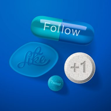 Social media addiction concept, pills capsules