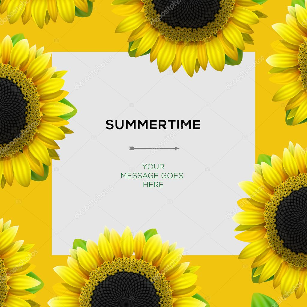 Summertime template with sunflowers background