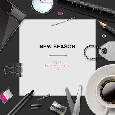 New season template with office supplies