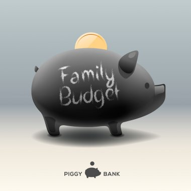 Piggy moneybox with coin - for family budget
