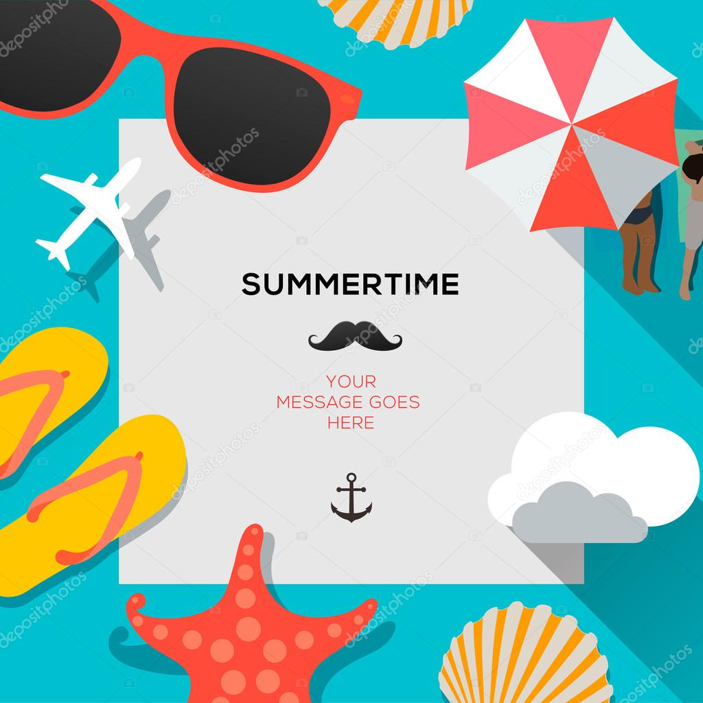 Summertime traveling template with beach summer accessories