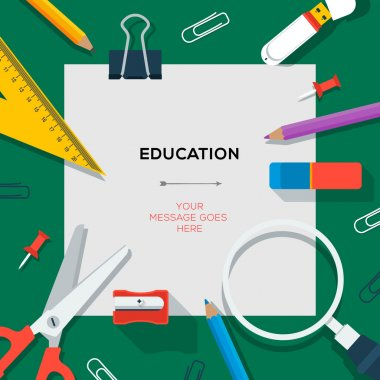Education and science concept - template with school's supplies