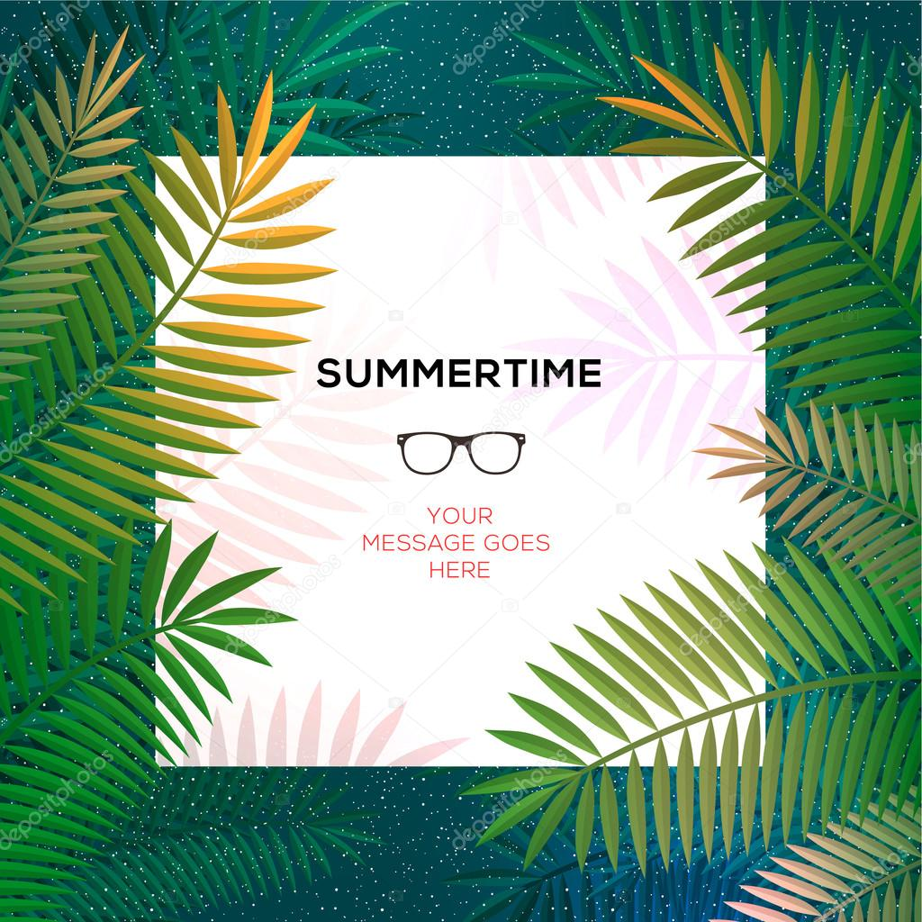 Summer tropical template with palm leaves