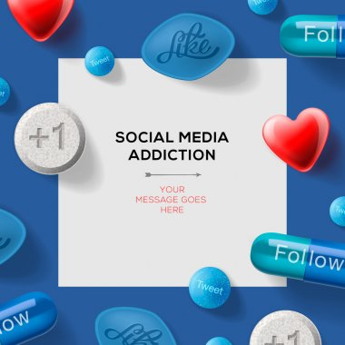 Social media addiction concept with pills