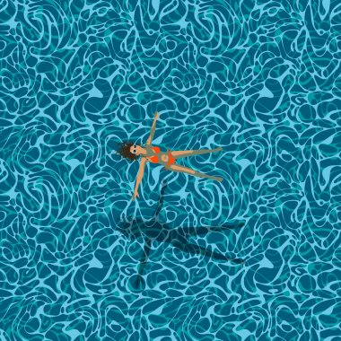 Young woman in swimming pool, seamless pattern of a water surface