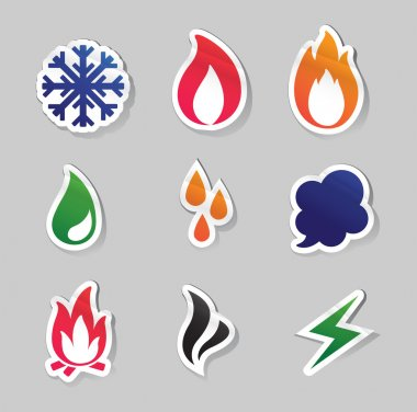 Fire, freeze, steam, water icons