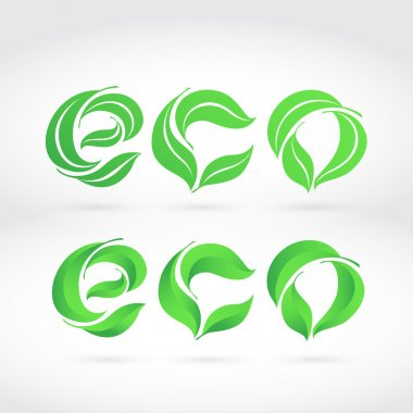 The word ECO composed from the leaves. Two writing: flat and 3D