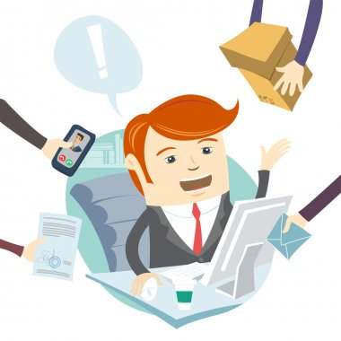 Very busy office man working hard