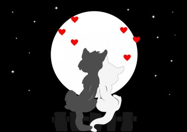 Greeting card for Valentine Cats admire the moon