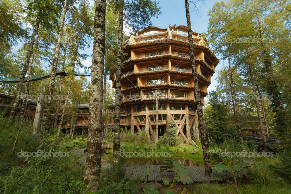 edificios de madera en el parque ecológico huilo huilo, patagonia ...