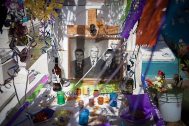 AGUASCALIENTES, MEXICO - NOV 02: Festively decorated grave on th