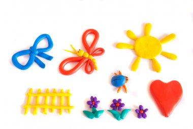 Set of color plasticine models