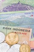 peníze indonéské rupie bankovky a mince detail