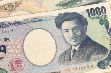 Japanese money yen banknote close-up