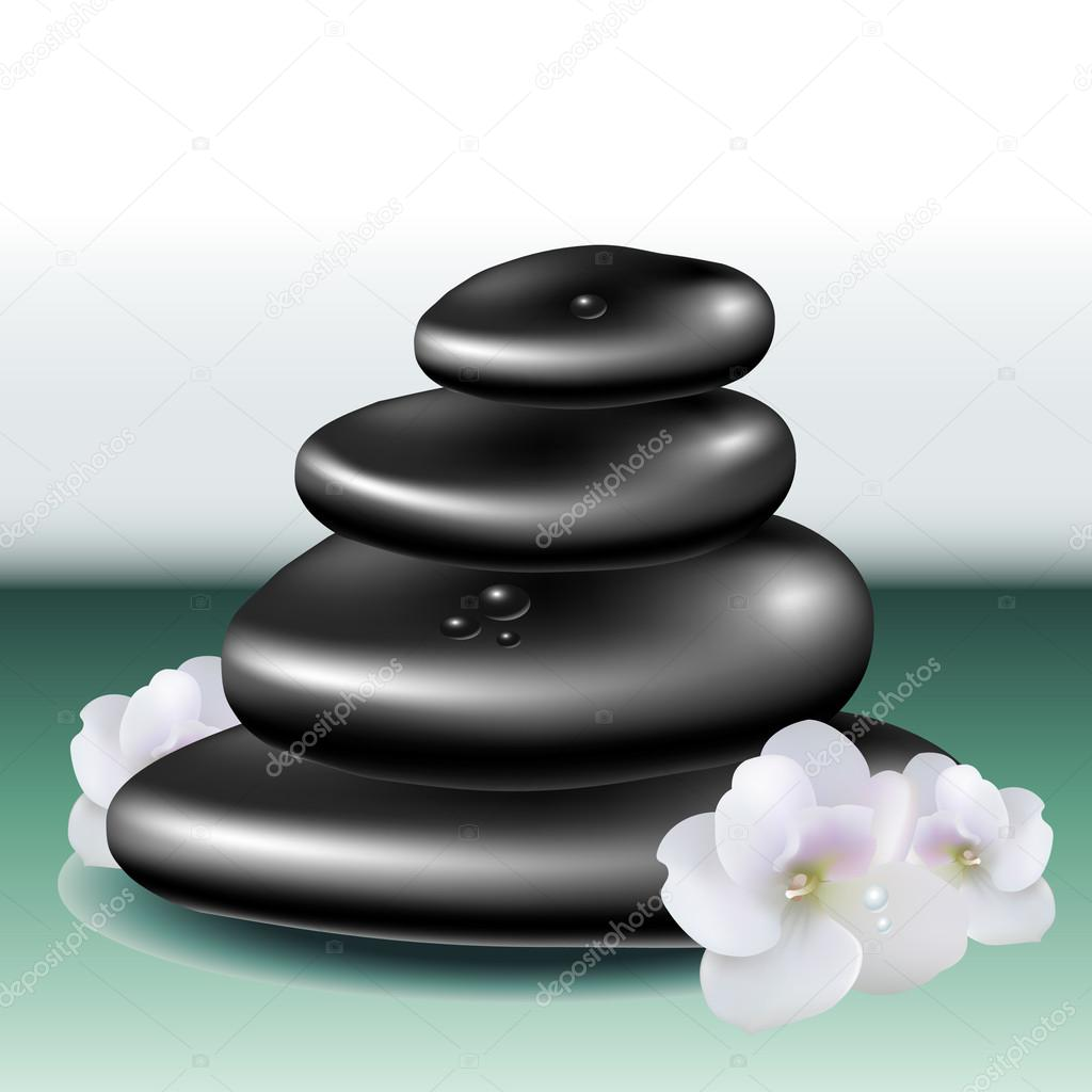 Spa stone set with white flowers