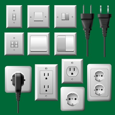 Power outlet, light switch and electrical plug set